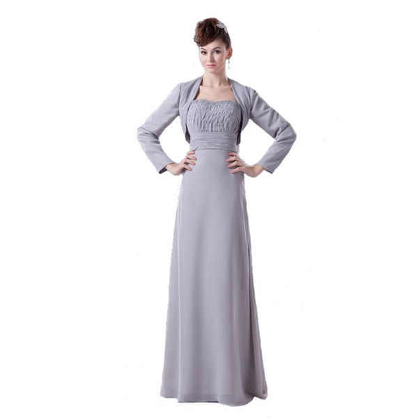 Hot Selling Brand Mother of Bride Dress Gray Chiffon With Long Sleeve Jacket Beaded Bodice Dress Mum