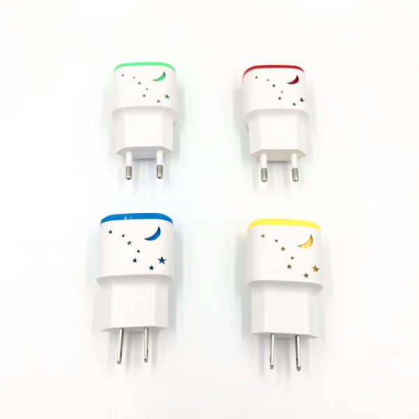 Big Dipper Pattern with Led 2 USB Ports 5V 1.0A Real Wall charger Adapter for Smart phone 100pcs/lot