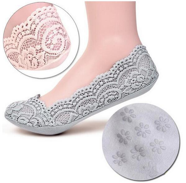 best selling Women's Cotton Lace Ankle Heal Short Low Cute Female Fashion Invisible Skidproof Short Boat Princess Socks