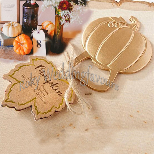 FREE SHIPPING 50PCS Gold Fall Autumn Pumpkin Bottle Opener Anniversary Bridal Wedding Favors Wedding Keepsake Party Table Decor