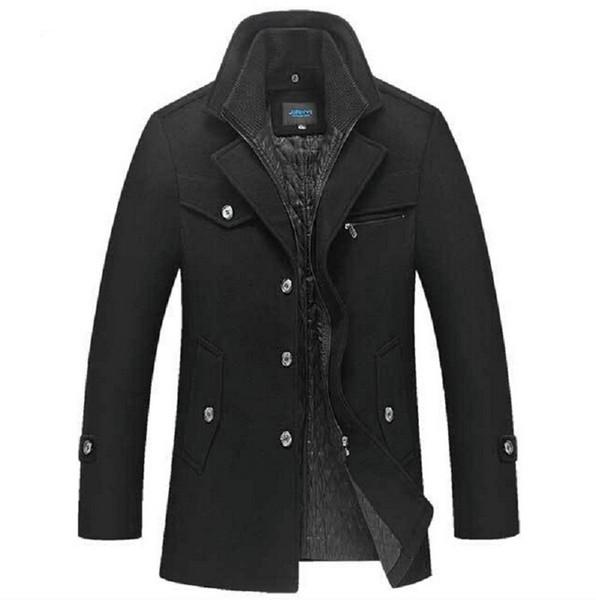Winter Wollmantel Männer Slim Fit Jacke Mens Fashion Oberbekleidung Warm Männlichen Casual Jacken Mantel Woolen Pea Coat Plus Größe XXXXL