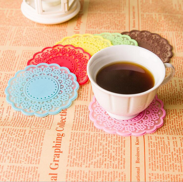 Kitchen Accessories New Creative Style Novelty Items Semi Transparent Hollow Out Round Lace Cup Mat Coaster Free Shipping