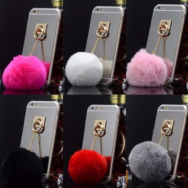 Moda in metallo corda specchio TPU casse telefono pelliccia di coniglio carino per iPhone5S 6S 6 7 più copertura per iphone 5 casi