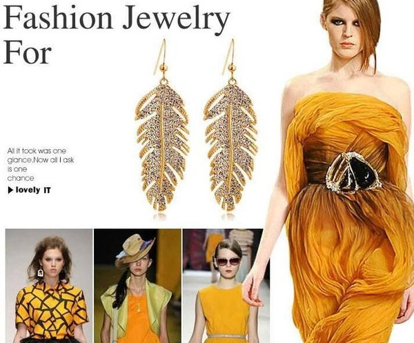 High quality full diamond Feather earrings necklace set fashion luxury women jewelry sets free shipping