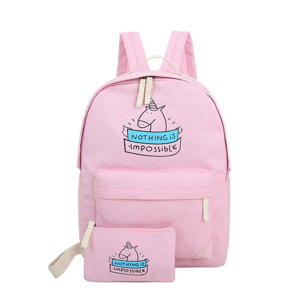 Free Shipping Women Canvas Backpack Fashion Cute Travel Bags Printing Backpacks 2pcs/set New Style Laptop Backpack school bags