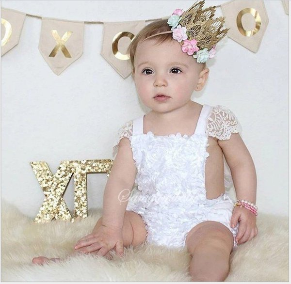 Cute Baby White Lace Dress Rompers 2017 New Summer Infant Girls Cotton Princess Jumpsuits Toddler One-Piece Onesies Newborn Clothes 4pcs/lot