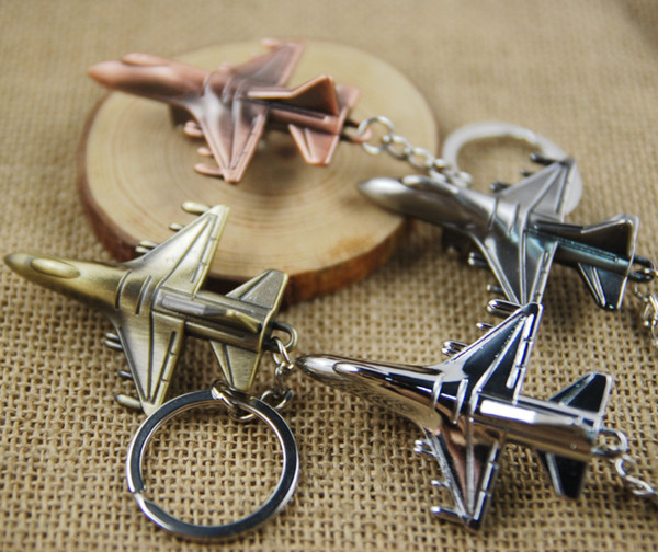 Metal Keychain Aircraft Airplane Air Plane Model Metal Keychain Key Chain Ring Keyfob Keyrings Cute Christmas Gift 4 Color C22L