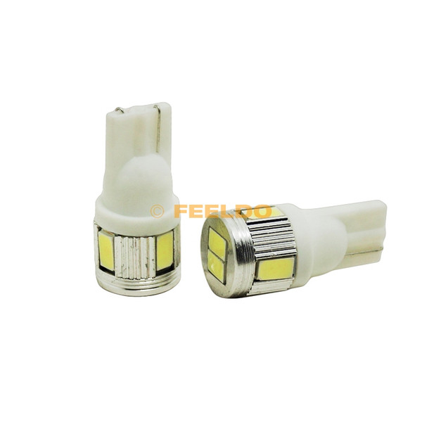 FEELDO 10PCS 12V 3W Pure White T10 / 194 / W5W 6SMD 5630 Автомобильная лампочка # 3898