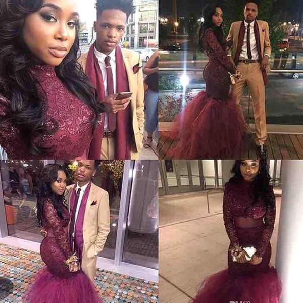 Cheap Burgundy Mermaid Sexy Black Girl Prom Dress Long Sleeve South Africa Evening Party Gown Custom Made Plus Size