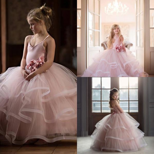 Bonitos Meninas Princesa Tulle Vestido Adolescentes Formais Desgaste Piso Comprido Em Camadas de Espaguete Correias Júnior Da Dama de Honra Vestidos Crianças Prom Vestido