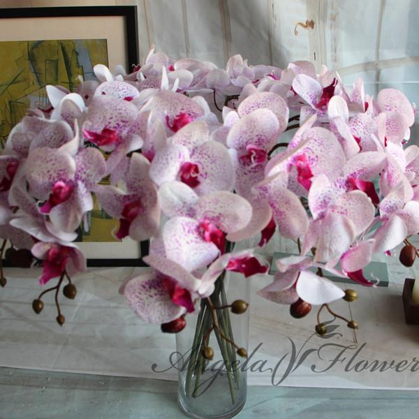 Flores artificiais Real Toque Artificial Orquídea Mariposa Borboleta Orquídea para a nova Casa Início Casamento Festival Decoração 8 pçs / lote