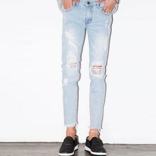 Wholesale- Men Destroyed Broken Light Blue Jeans Ankle Length Mens Garment Washed Denim Pants Bleached Ripped Jeans Korean Fashion