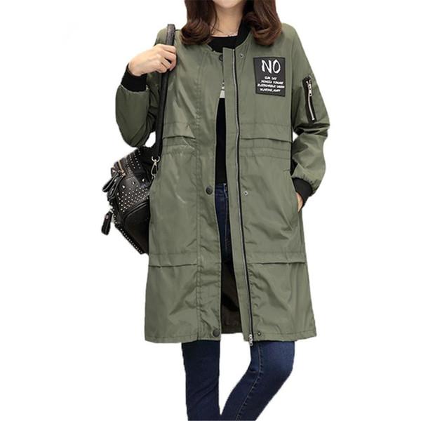 Autumn Women Windbreaker Coat Fashion Casual Jacket O Neck Long Sleeve Letter Print Medium Long Slim Coat NG-029