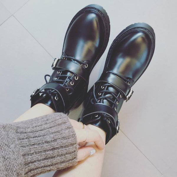 Cool fashion women ankle boots military style womens black PU leather shoes with buckle casual lesiure