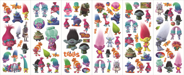top popular 1000pcs Movie Trolls Action Figure Stickers Poppy Branch Critter Skitter Bubble Trolls Stickers for Children mini trolls Toys FREE DHl 2021