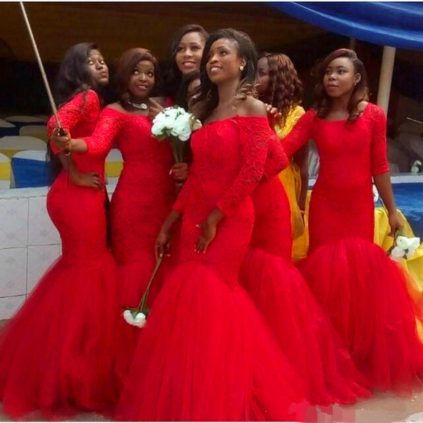 Hot South Africa Style Nigerian Lace Bridesmaid Dresses 2019 Plus Size Mermaid Maid Of Honor Gowns For Wedding Lace up Red Tulle gown