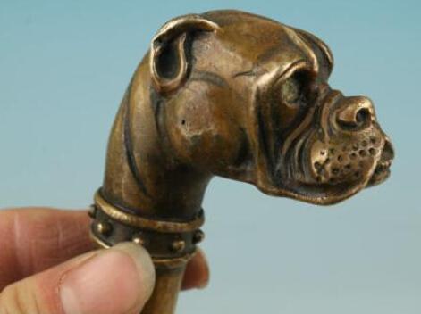 SUIRONG 715 +++ bronzo Pure Copper Old Qing Ming Brass cinese bronzo intagliato a mano cane Statua Cane Walking Stick testa