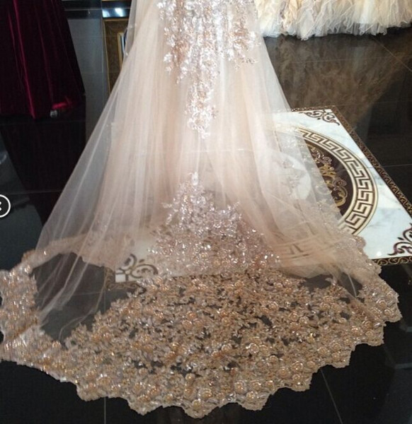 top popular Real Image Bridal Veils Sequins Luxury Cathedral Veil Appliques Lace Edge Custom Made Long Wedding Veils In Stock Fast Shipping 2021