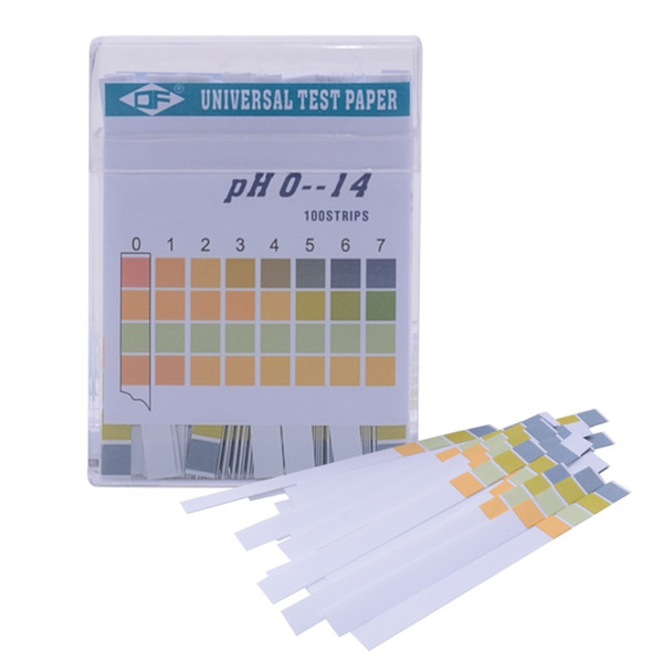 Vente en gros-2017 Nouveau pH Test de l'eau alcaline Essais papier tournesol pour jardinage Aquarium usine de haute qualité 0-14 ph 100 bandes / boîte