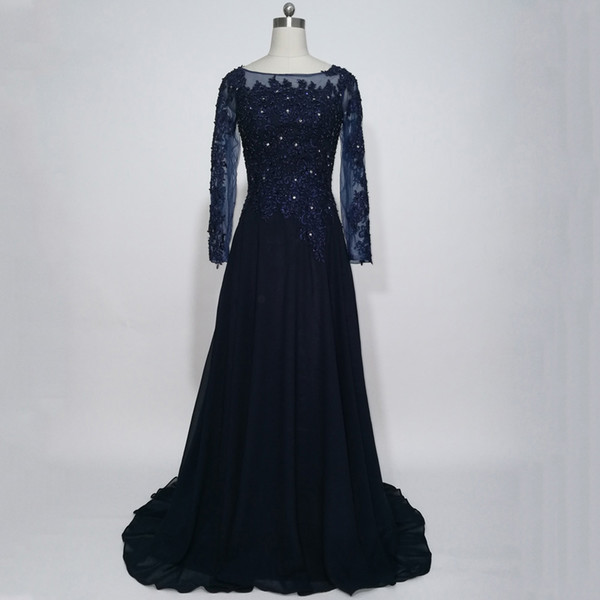 2017 Dark Navy Blue Mother Of The Bride Dresses With Long Sleeve Chiffon Appliques Lace A-line Evening Party Gowns For Weddings Guest