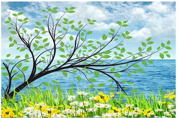 3D photo wallpaper custom size 3d wall murals Seaside tree picture home decoration mural wall 3D Mural wallpaper Free shipping