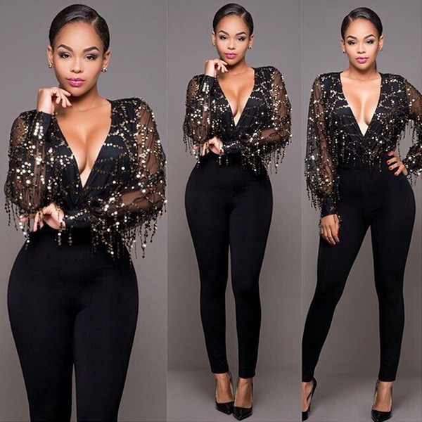 New sequin mesh sexy bodysuit women Transparent long sleeve bodysuit top deep V neck elegant velvet jumpsuit romper long pants