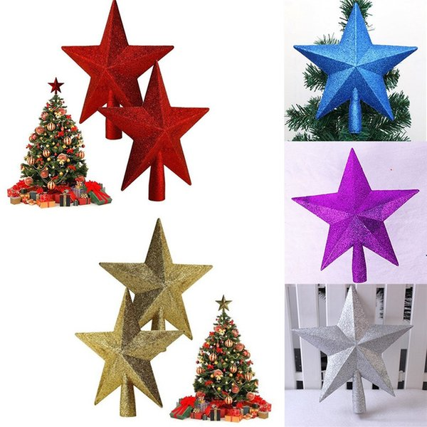 Wholesale- 1Pc 25CM Christmas Tree Lovely Shiny Star Xmas Decorative Topstar For Home Party Table Top Ornament Decoration 5 Colors