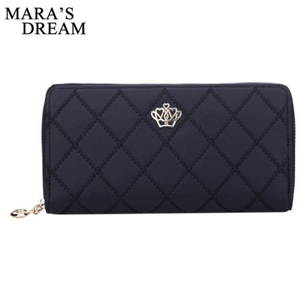 Wholesale- Mara's Dream Women Wallet Clutch Bag Vintage Crown Embellishment Plaid Wallets Female ID Card Holder Purse Phone Case Money Bag