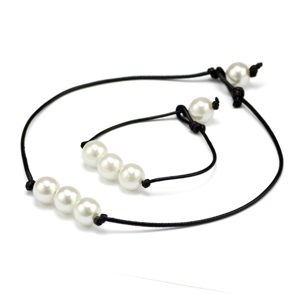 New Arrivals Hot sale Pearl Leather Choker Necklace Bracelet Jewelry set Simulated Pearl Handmade leather Necklace DIY Leather Choker