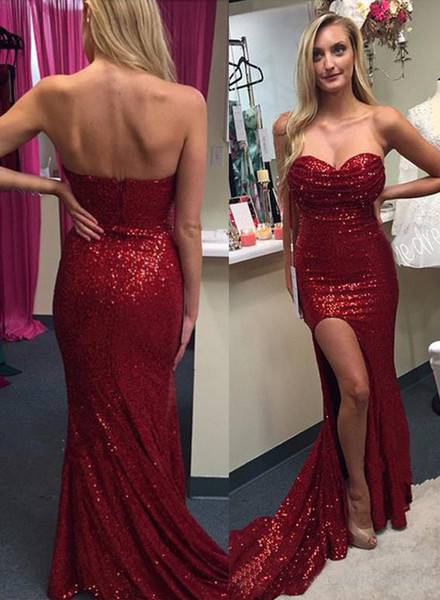 Sexy Red Sequined Sheath Prom Dresses 2017 Sweetheart Side Slit with Ruffles Long Sweep Train Evening Gowns