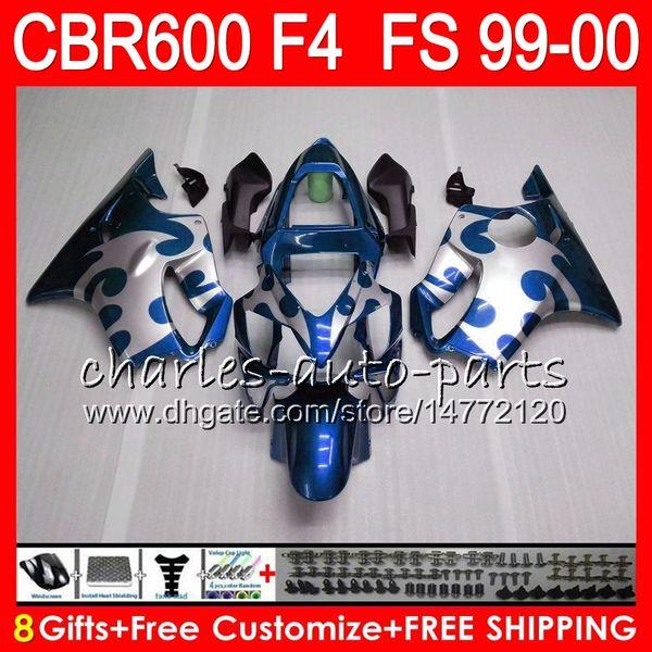 8Gifts 23Colors Bodywork For HONDA CBR 600F4 CBR600F4 99 00 FS 30NO76 blue black CBR 600 F4 99-00 CBR600FS CBR600 F4 1999 2000 Fairing Kit