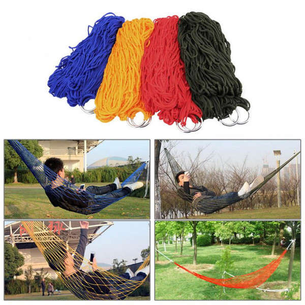Wholesale- Sleeping Mesh Hammock Swing Sleeping Bed Hammock Hamaca Hamac Portable Garden Outdoor Camping Travel Furniture Nylon Bed Hangnet