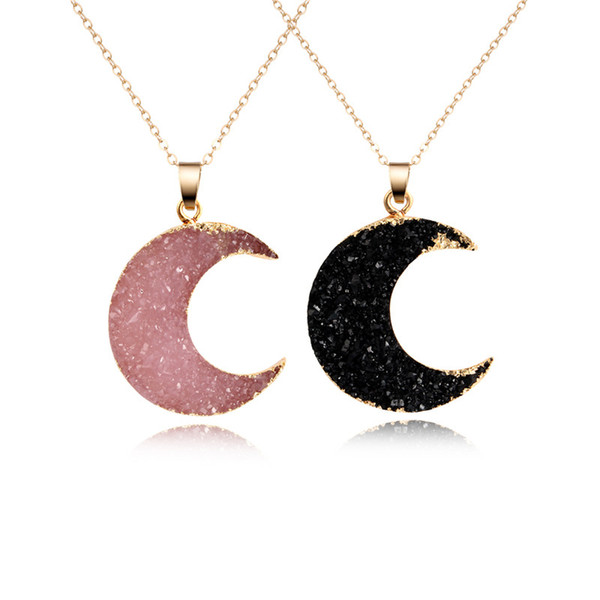 Wholesale- 1PC New Pink Black Moon Resin Stone Pendant Necklace Women Druzy Drusy Gold Color Chain Necklace for Female Link Chain