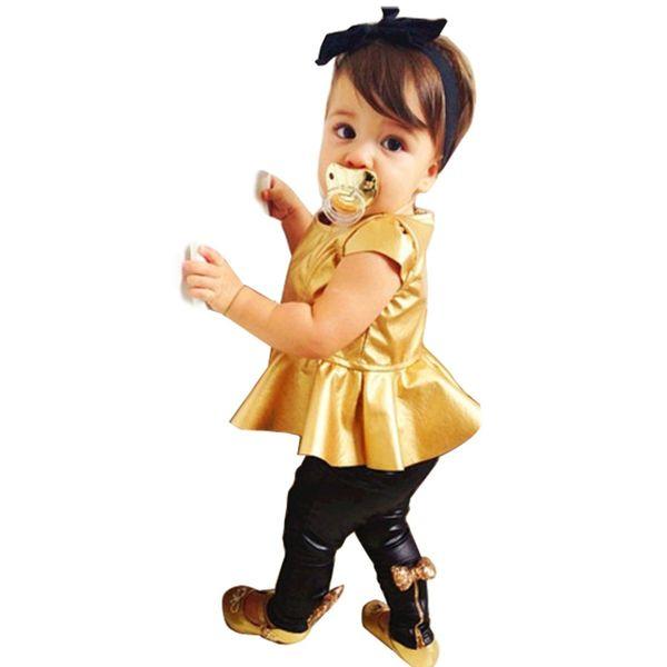 Toptan-Çocuk Kız Çocuk Giyim Setleri Giysileri Takımları 2 Adet Kısa Kollu Altın Boynuz Çizgisiz Üst Giysi Eğlence Takım 66