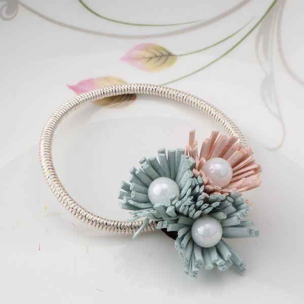 Wholesale- 2016 Hot Sale Women Hair Accessories Brand Pearl Tassel Elastic Hair Bands Fashion Hair Ropes Jewelry Scrunchy