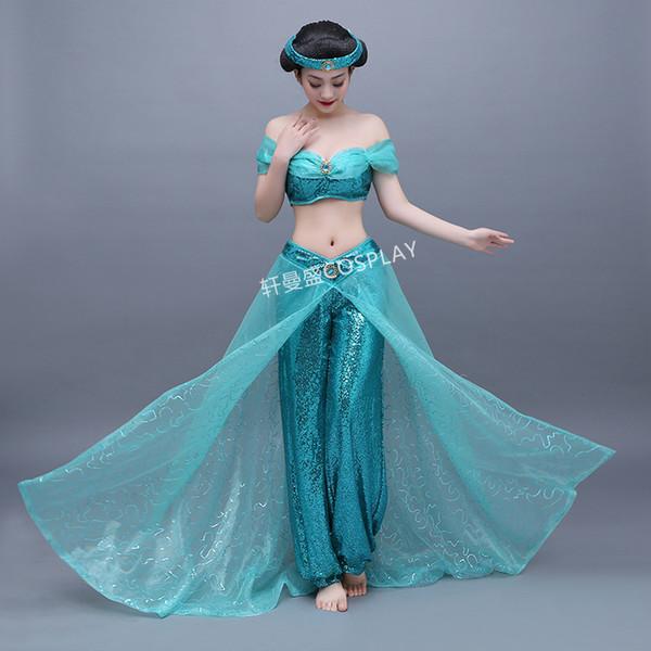 Compre Mujeres Adultos Damas Traje De Jazmín Personaje De Halloween Cosplay Princesa Azul Claro Princesa Jasmine Cosplay Aladdin Cosplay A 10153 Del