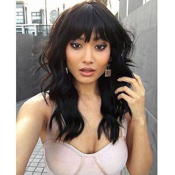 top popular Natural wave brazilian virgin hair lace front wigs with bangs short bob wavy human hair full lace human hair wigs for black women 2019
