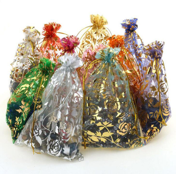 Gold Rose Organza Drawstring Pouches Jewelry Party Wedding Gift Bags 7x9CM (2.75x3.54 inch 500 piece ( one colour Pack of 100) Random Colour