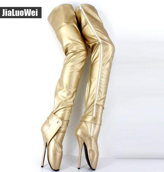 2019 New Women Ballet Boots 18cm Spkie Heel Gold Thigh High Boots Sexy Crotch Boot Fashion Show Botas Winter Dance Shoes Man
