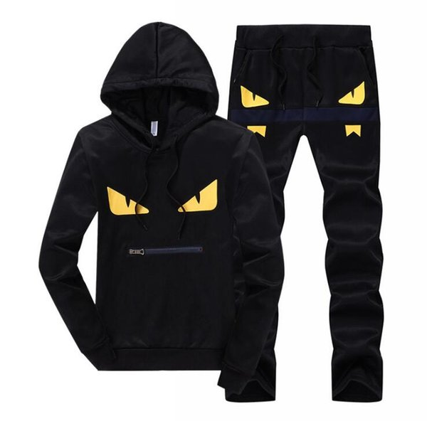 best selling Devil eyes men's tracksuits patchwork sportswear hoodies+pants sets mens hoodies and sweatshirts outwear suits free shipping