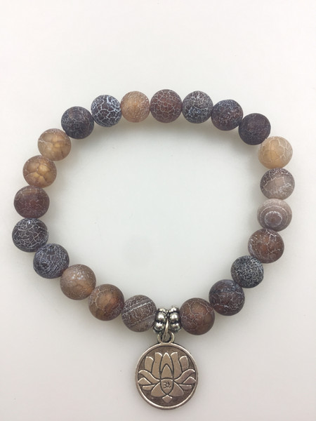 mxr0299 Fashion bracelets Weathering agate bracelet 8MM Weathering agate beads Coin Lotus pendant yoga mala bracelet beads Lotus bracelet