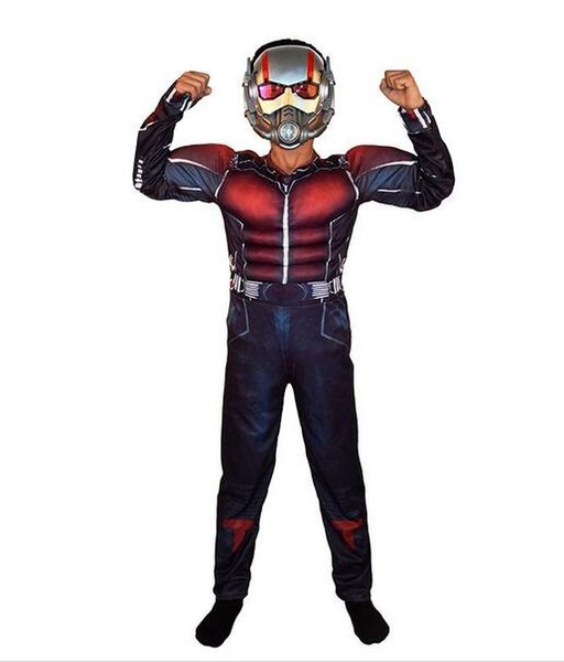 Child Deluxe Ant man Muscle Costume Boys Marvel New Superhero Cosplay Halloween Fancy Dress 3pcs Outfit For Kids LED Masks