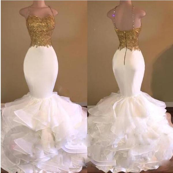 Sexy correas sirena blanca de oro lentejuelas apliques vestidos de baile 2017 Sparkly Organza Ruffles Sweep tren vestidos de fiesta por la noche árabe Celebrity
