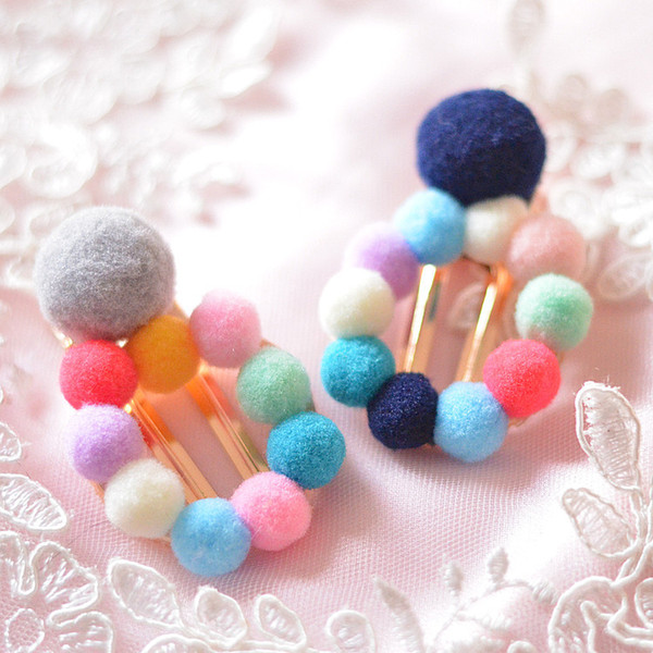 6pcs/lot high quality colorful plush balls hair pins for kids women girls Christmas gifts hair jewelry accessories