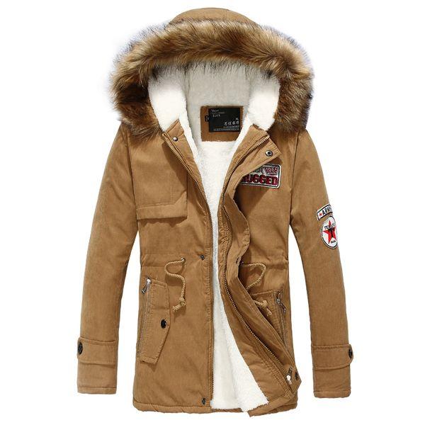 Wholesale- Wool Linner Men Down Jacket Army Green Winter Warm Men's Thick Warm Fur Collar Long Jackets Men Hooded Parka Men Coat