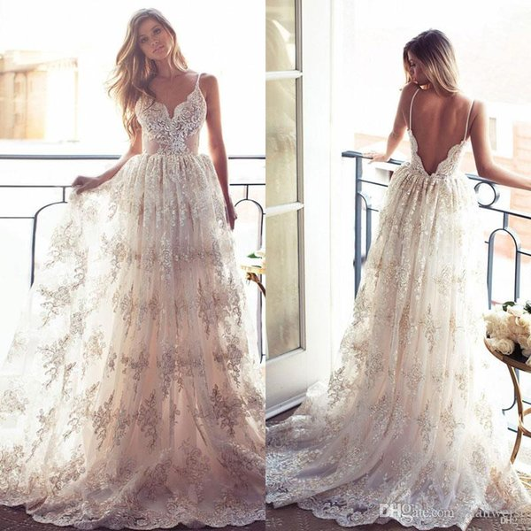 2016 Full Lace A Line Wedding Dresses Backless Lurelly Bohemia ...