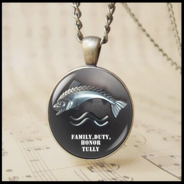 3D fish Riverrun necklace Family Duty Honor Tully Trout Sigil Blackfish Pendant Necklace Game of Thrones Brynden Tully Jewelry 12pcs T1031