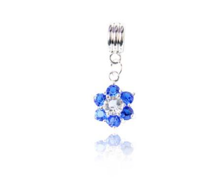 Fits Pandora Sterling Silver Bracelet Royal Blue Crystal Flower Pendants 925 Beads Charms For European Snake Charm Chain Fashion DIY Jewelry
