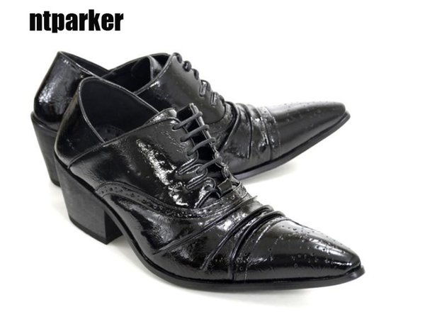 6.5cm High Heels Men Shoes Korean tide handmade Business Leather Dress Shoes Black Party and Wedding Zapatos Hombre, Big Sizes US6-12, EU46