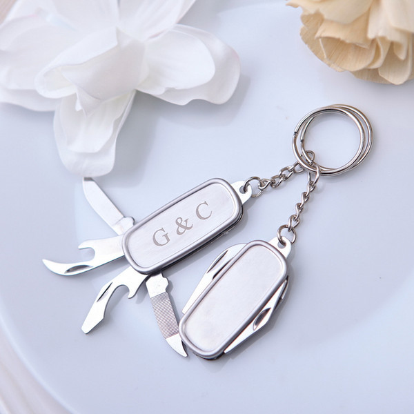 50Pcs Free Shipping Personalized Wedding Party Gift For Guests Multifunctional Knife Keychain Favor With Box regalos boda bodas y eventos